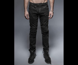 Black-Gothic-Punk-Armor-Knee-Jeans-For-Man