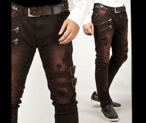Extreme-Vintage-Double-Belt-Accent-Grunge-Wine-Slim-Jeans