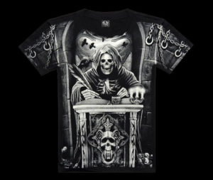 Men-Skeleton-Religious-Symbols-Printed-Black-Tee-Shirt