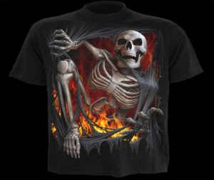 MenS-New-Black-Undead-Rips-Skulls-Death-Tee-Shirt
