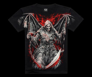 Mens-Soul-Reaper-Wings-Printed-Short-Sleeve-Black-Summer-T-Shirt